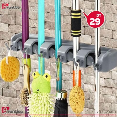 Support Balais et Outils de Nettoyage  Broom Holder 5 Positions