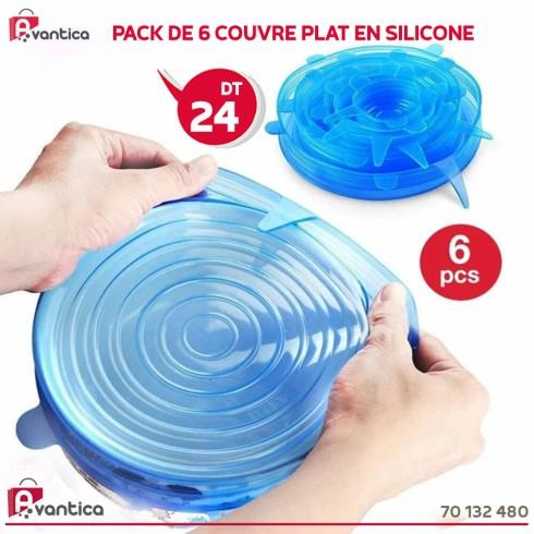 Pack de 6 couvre plat en silicone