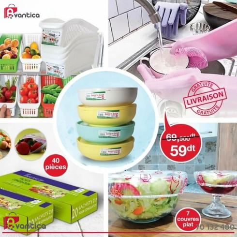 Pack de 5 articles (magic gloves+panier de réfrigérateur +couvre plats+sac à fermeture Zip+boite de congélation 1.5l)